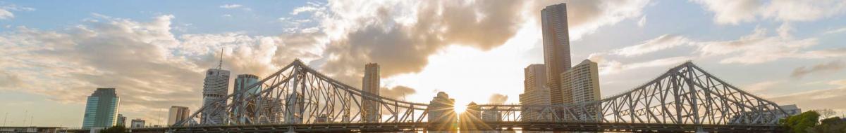 Brisbane City skyline sunset