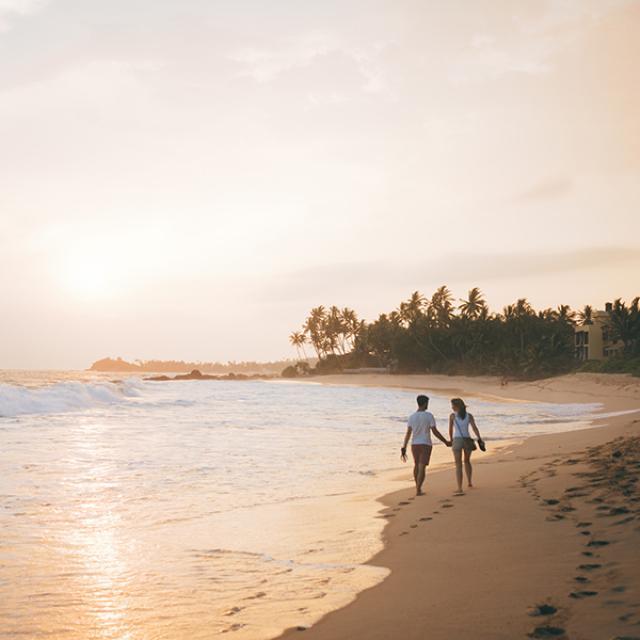 Wijaya beach sunset in Sri Lanka